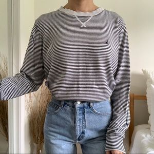 Nautica Gray and Navy Blue Striped Sweater